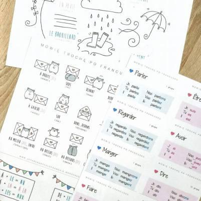 francuskie notatki do pobrania do druku nauka języka francuskiego słówka tematyczne czasowniki Mówię trochę po francusku francis.pl