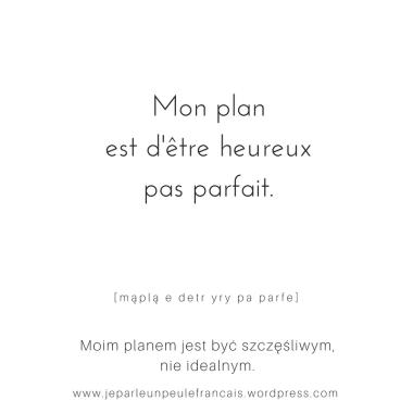 moim planem jest być szczęśliwym nie idealnym, jolis mots francuski łdne słowa po francusku